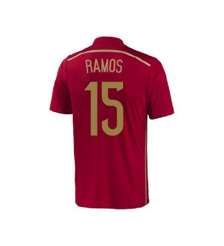 顔料スケルトンなしでAdidas RAMOS #15 Spain Home Jersey World Cup 2014 YOUTH/サッカーユニフォーム スペイン代表 ホーム用 ワールドカップ2014 背番号15 S.ラモス ジュニア向け