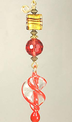Teardrop Lampwork Glass - Red and Gold Swirling Lampwork Glass Spiral Teardrop Ceiling Fan Pull Chain