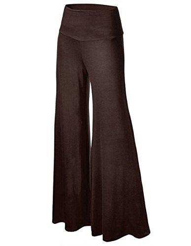 Haute De Long Palazzo Patte Détente Femmes Solid Taille Gaucho Aj Pantalon Fashion Marron Éléphant ExnqYw4PxA