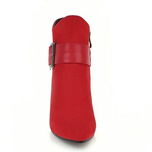 Rouge Chaussures Compensé Femme Coolcept Mode Bottines XxY4w6