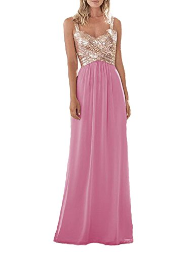 Firose Women s Sequined Sweetheart Backless Long Prom Bridesmaid Dress  RoseGold Rose Pink US18W - Buy Online in UAE.  e2c4736ba498
