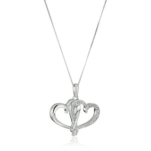 10k White Gold and Diamond Double Heart Pendant Necklace (1/8 cttw I-J Color, I2-I3 Clarity), 18