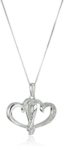 10k White Gold and Diamond Double Heart Pendant Necklace (1/8 cttw I-J Color, I2-I3 Clarity), 18""