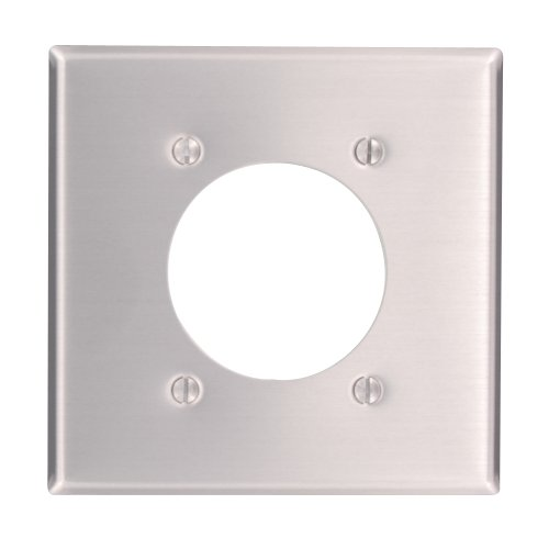 Leviton Available 83026 2-Gang Flush 2.15-Inch Diameter, Receptacle Wallplate, Standard Size, Device Mount, Aluminum, quot ()
