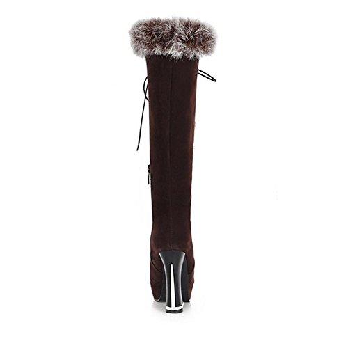 donna Marrone snow HScarponi H brown a nero invernali tamburo slip 38 XIAOGANG satinato alto cinturino tacco anteriore non grosso stivali txvwqE5