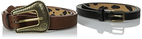 Betsey Johnson Women's Western Two-For-One Belt, Cognac/B...