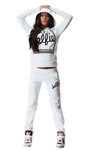 (Bluetime Women's Cotton Sport Pullover Hoodie Tracksuit Sweatshirt Sweatpant Set (XXL, White))