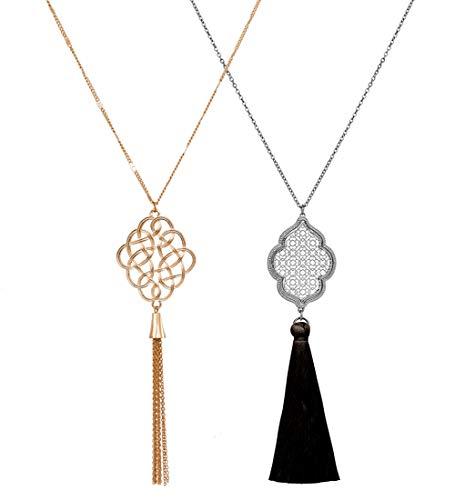Buy black pendant necklace long