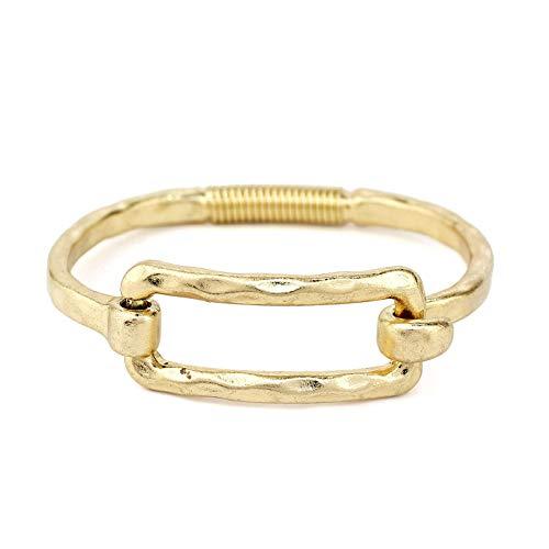 - POMINA Geometric Shape Tension Bangle Hammered Metal Bracelets (Square Gold)