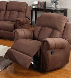 Poundex Microfiber Rocker Recliner Chair, Chocolate