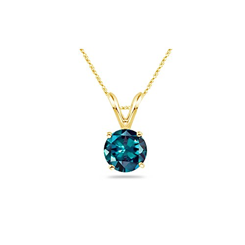 1.50-2.03 Cts of 7 mm AAA Round Lab created Russian Alexandrite Solitaire Pendant in 14K Yellow Gold