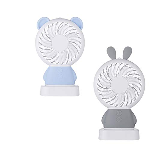 Smdoxi LED Lighting Convenient Small Electric Fan Colorful Lighting USB Charging Portable Desktop Fan, Home Silent Fan, Office, Outdoor Travel ()