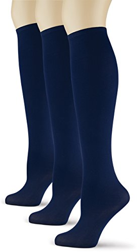 Silky Smooth Knee High Trouser Socks by Sox Trot | Thin Material | (Navy) 3 Pack