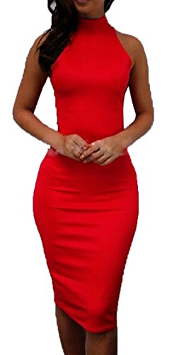 Bodycon Jaycargogo Sleeveless Evening Dress Sexy Midi Red Culb Dress Collar Womens High wYYtRr