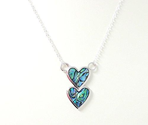 Paua Shell Pendant Necklace - Two Hearts - Paua Heart