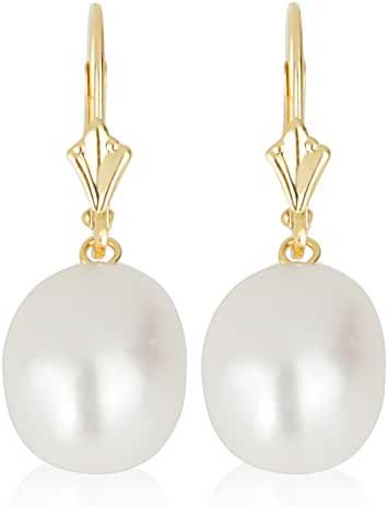 14k Yellow Gold Drop Pearl Earrings with Freshwater Cultured Pearls (Lever back Pearl Earrings, Pearls Available in 8-8.5 and 10-10.5 mm Sizes)
