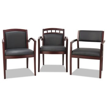 Alera RL5119M Reception Lounge 500 Series Arch Cutout Wood Chair, Mahogany/Black Leather
