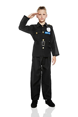 Police Costumes Party City (Kids Boys City Police Costume Cop Uniform Policeman Detective Dress Up Role Play (6-8 years, Black))