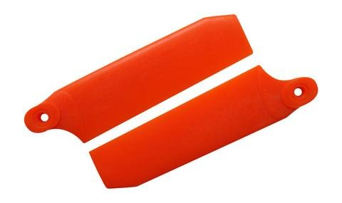 KBDD 72.5mm W/ 5mm Root Neon Orange Extreme Edition Tail Rotor Blades - 500 Size #4034