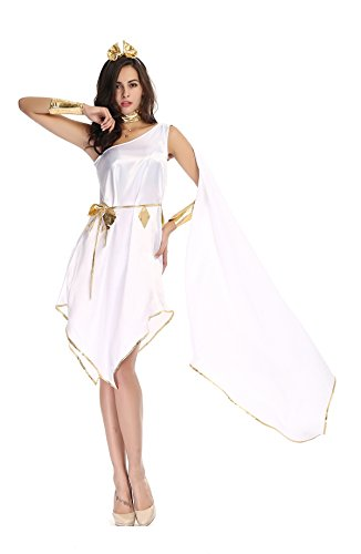 MV Women Greek Goddess Halloween White Elegant Irregular Dress Clothing (Cheap Greek Goddess Costumes)