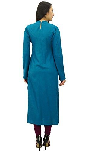 Bimba mujeres de la manga llena kurta staright indio Kurti rayón étnicos llanura larga túnica blusa Teal Blue