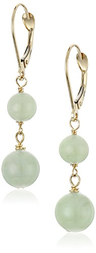 14k Yellow Gold Light Green Jade Earrings 14k Yellow Gold Jade Ring