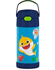 THERMOS FUNTAINER 12 Ounce Stainless Steel Vacuum Insulated Kids Straw Bottle, Baby Shark