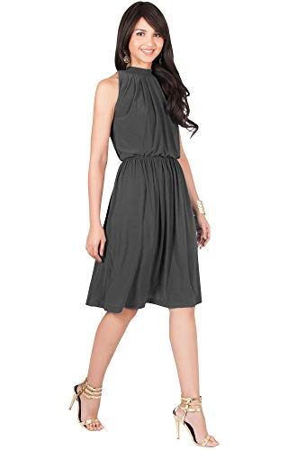 KOH KOH Womens Sleeveless Bridesmaid Halter Neck Flowy Wedding Party Work Knee Length Day Formal Dressy Summer Casual Sexy Sundress Mini Midi Dress Dresses, Pewter Gray Grey M 8-10