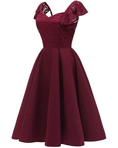 Coctail Wine Short Lace Floral Aecibzo Vintage Women's Bridesmaid Dresses Red Dress 1AxzYx