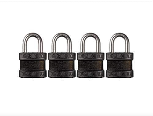 Commando Lock   Blackout Laminated Steel Padlock   Military-Grade   Gun Case Locks (4 Pack)