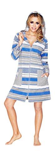 Corta Blu Cappuccio Con Veste Calda A Righe HwxZxA8q