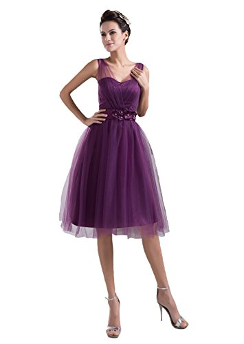 Snowskite Women's Sweetheart Short Tulle Evening Formal Bridesmaid Dress Purple 14