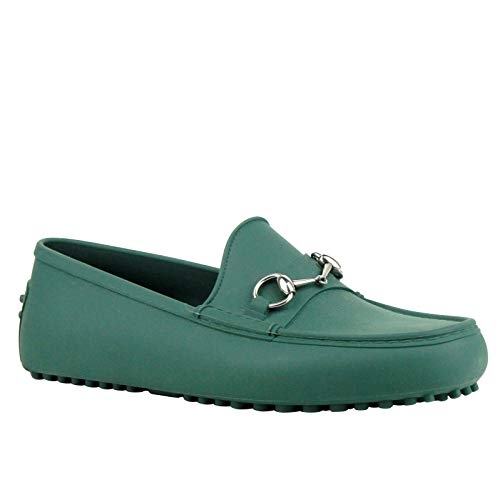 Gucci Silver Horsebit Green Rubber Loafer Shoes 386586 3020 (11 G / 11.5 US)