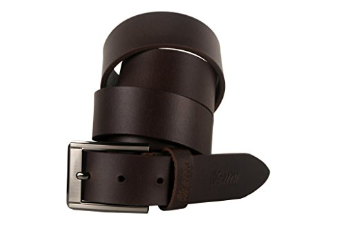 Nerita Men's Formal Casual Genuine Leather Belt with pin Buckle Black