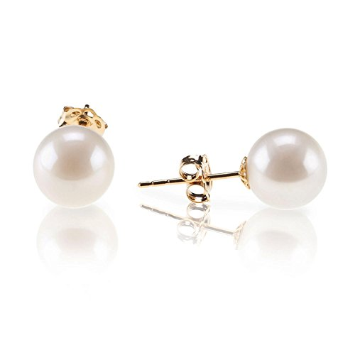 PAVOI 18K Yellow Gold Plated Sterling Silver Round Stud White Simulated Shell Pearl Earrings - 6mm
