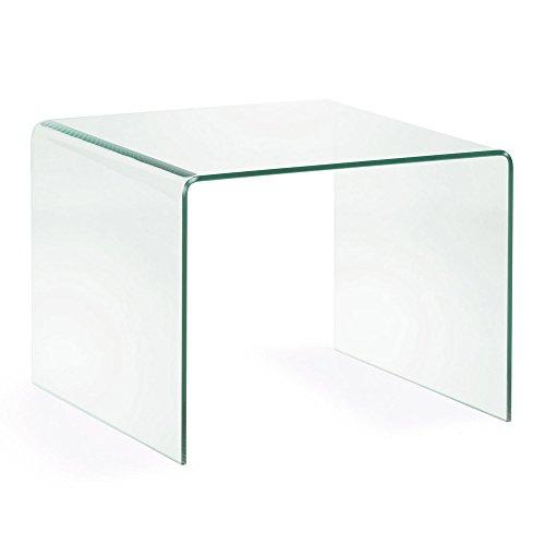 Kave Home - Mesa Auxiliar Burano de Cristal Templado con Forma Cuadrada de 60 x 60 cm