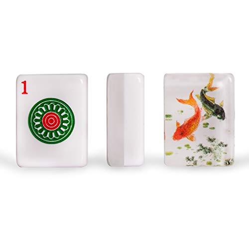 Yellow Mountain Imports Set of 166 American Mahjong (Mah Jong, Mahjongg, Mah-Jongg, Mah Jongg) Tiles, Koi