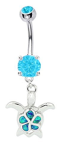 - Pretty Sparkling Blue fire Opal Flower Turtle dangle Belly button navel Ring piercing bar body jewelry 14g