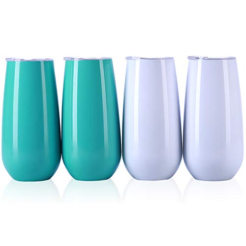 Zonegrace 4 Pack Light Blue and White Stemless Double-insulated Wine Tumbler Champagne Flutes, 6 OZ Reusable Cocktail Cups Unbreakable Champagne Toasting Glasses with Lids