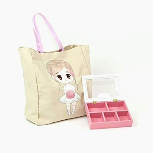 FLOWER Girl Wedding Birthday Christmas Favors Gift Tote Bag Cotton with Beautiful Wood Trinket Box full of toys favors girls jewelry headbands by Global Huntress (Image #9)