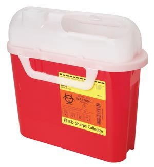 BD Patient Room Sharps Collector, 5.4 Qt, Side Entry, Red, 20/cs 305443