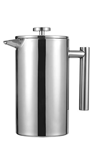 Meelio 1 Liter 18/8 Double Wall Stainless Steel Coffee French Press,Coffee or Tea Maker 8 Cup/4 Mug, 34OZ (With 2 Extra Filter)