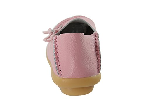Boat Flats Cowhide Slippers Star On Lace Casual Shoes Pink Moccasin Driving Century Q Slip Up Loafer Womens wOBPqA