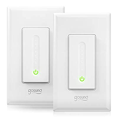 Gosund Smart Dimmer Switch, Smart WiFi Light Switch Works with Alexa & Google Home, with Remote Control & Schedule, Neutral Wire Needed, Single-Pole, No Hub Required, Easy Installation (2 Pack)