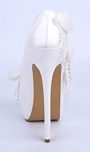 Leather Beautiful Women's Pumps White Flowers Bridal Dress Patent TDA Wedding Stiletto g5XBqP5z