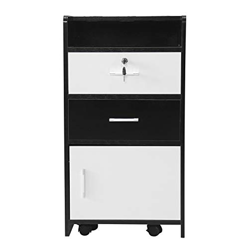 SHUTAO Salon Wood Rolling Drawer Cabinet Trolley Spa 3-Layer Cabinet Equipment with A Lock Black & White