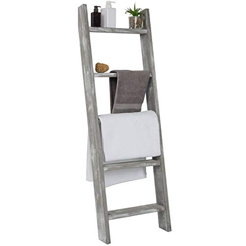 MyGift Wall-Leaning Rustic Gray with White Finish Wood Ladder-Style Blanket Rack