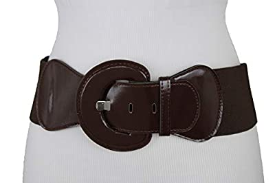 TFJ Women Casual Fashion Wide Stretch Belt Hip High Waist Brown Chocolate Color Size M L XL