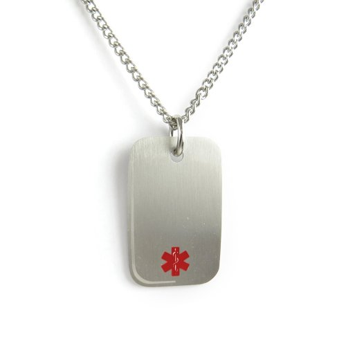 MyIDDr - Pre-Engraved & Customized Diabetic Medical Alert Dog Tag Necklace, Stainless Steel