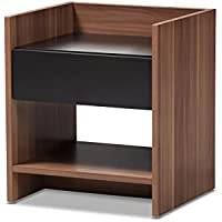 424-7715-AMZ Voletta Modern and Contemporary Two-Tone Walnut and Black Wood 1-Drawer Nightstand, 1-Drawer